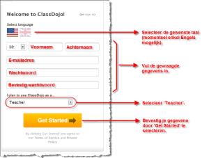 ClassDojo - Create New Account - Instellingen
